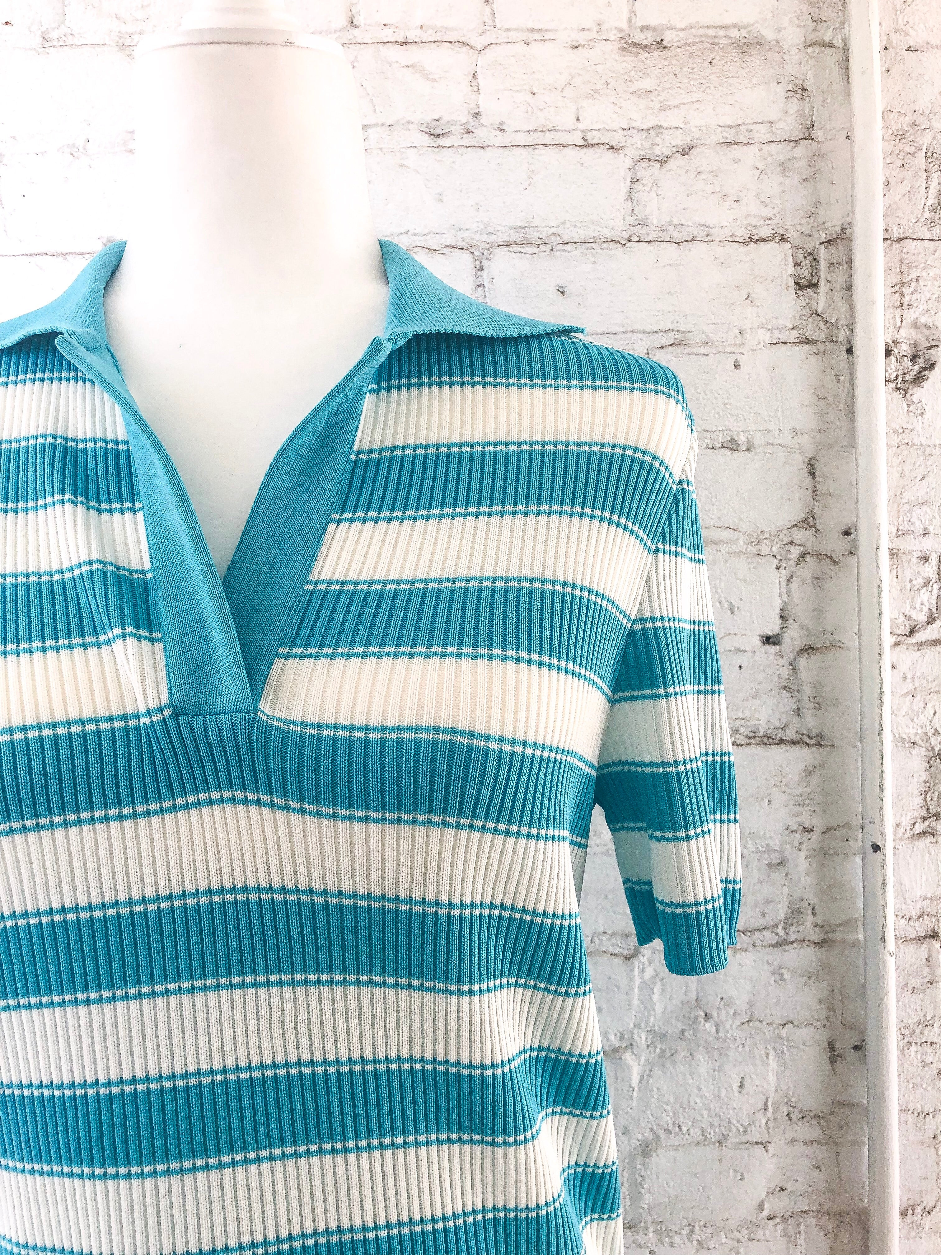 Vintage 70s Blue Stripe Polo Top / S-M