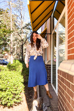 Load image into Gallery viewer, 80s Blue Pleated Sweater Skirt / M-L