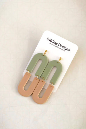 Open image in slideshow, The Double Arch Earrings by OKClay Designs
