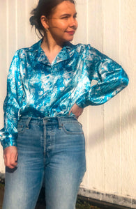 80s Bright Blue Bubble Print Shirt / S-M