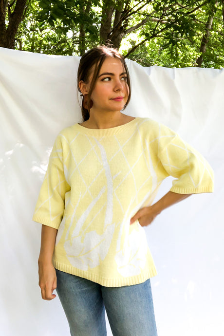 Vintage 80s Yellow Palm Leaf Sweater / S-L