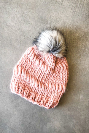 Open image in slideshow, The Lillian Fur Pom Pom Beanie in Light Pink