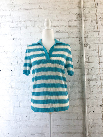 70s Blue Stripe Polo Top / S-M