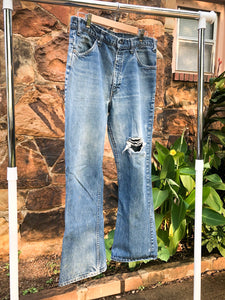 70s Orange Tab Levis Distressed Jeans / 34W, 30L