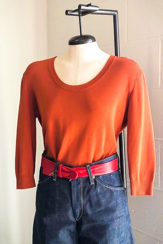1990s Orange Scoopneck Sweater / M