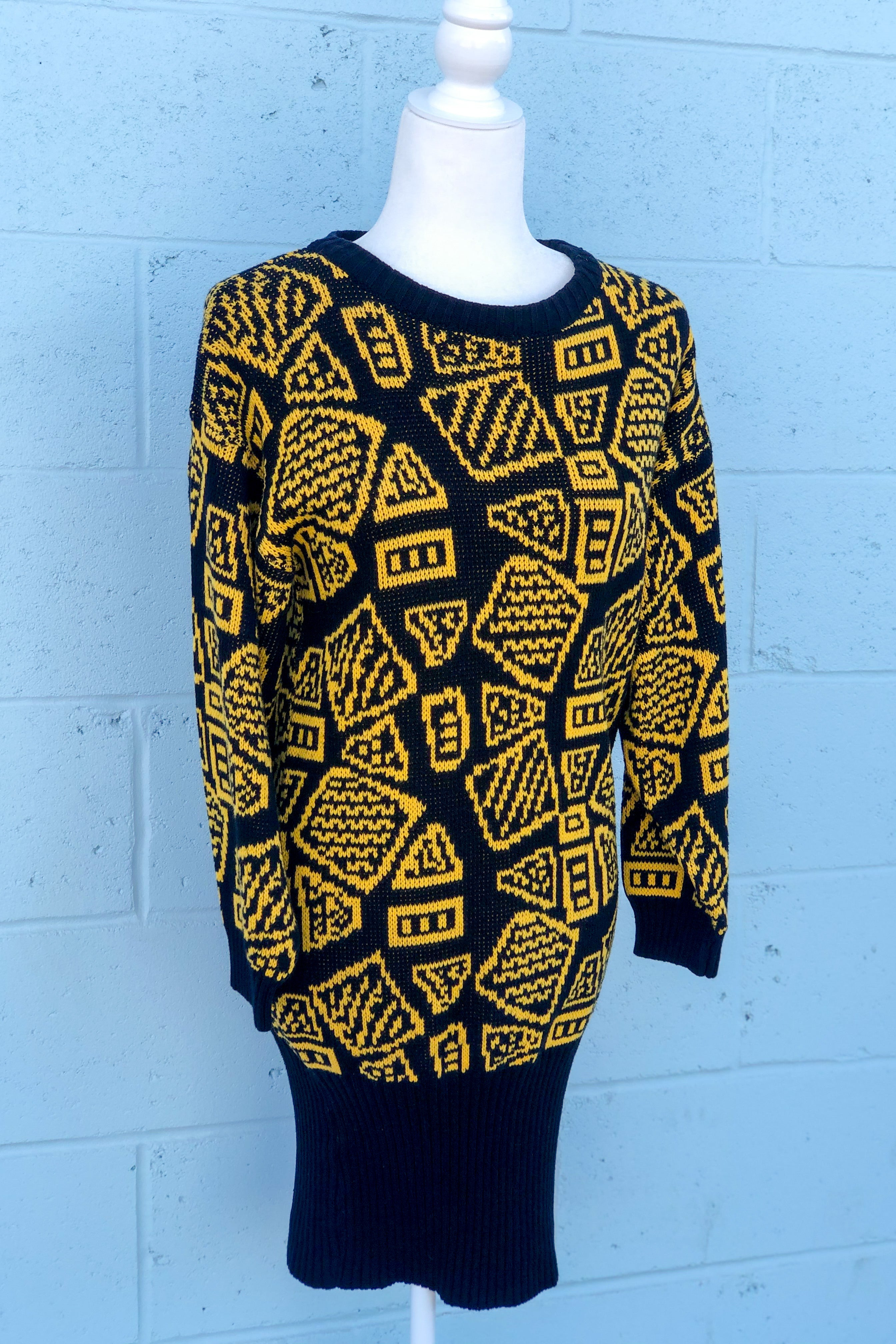 Vintage 80's Yellow & Black Sweater Dress / S-L