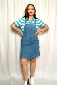 Vintage 80s Denim Overall Dress / XS-S