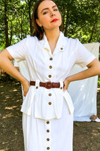 Load image into Gallery viewer, Vintage 80s White Button Front Shirt Dress / S-M