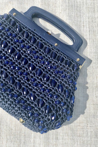 Vintage 50s-60s Blue Beaded Handbag