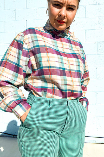 Vintage 90s Teal & Grey Check Trousers / W:32""