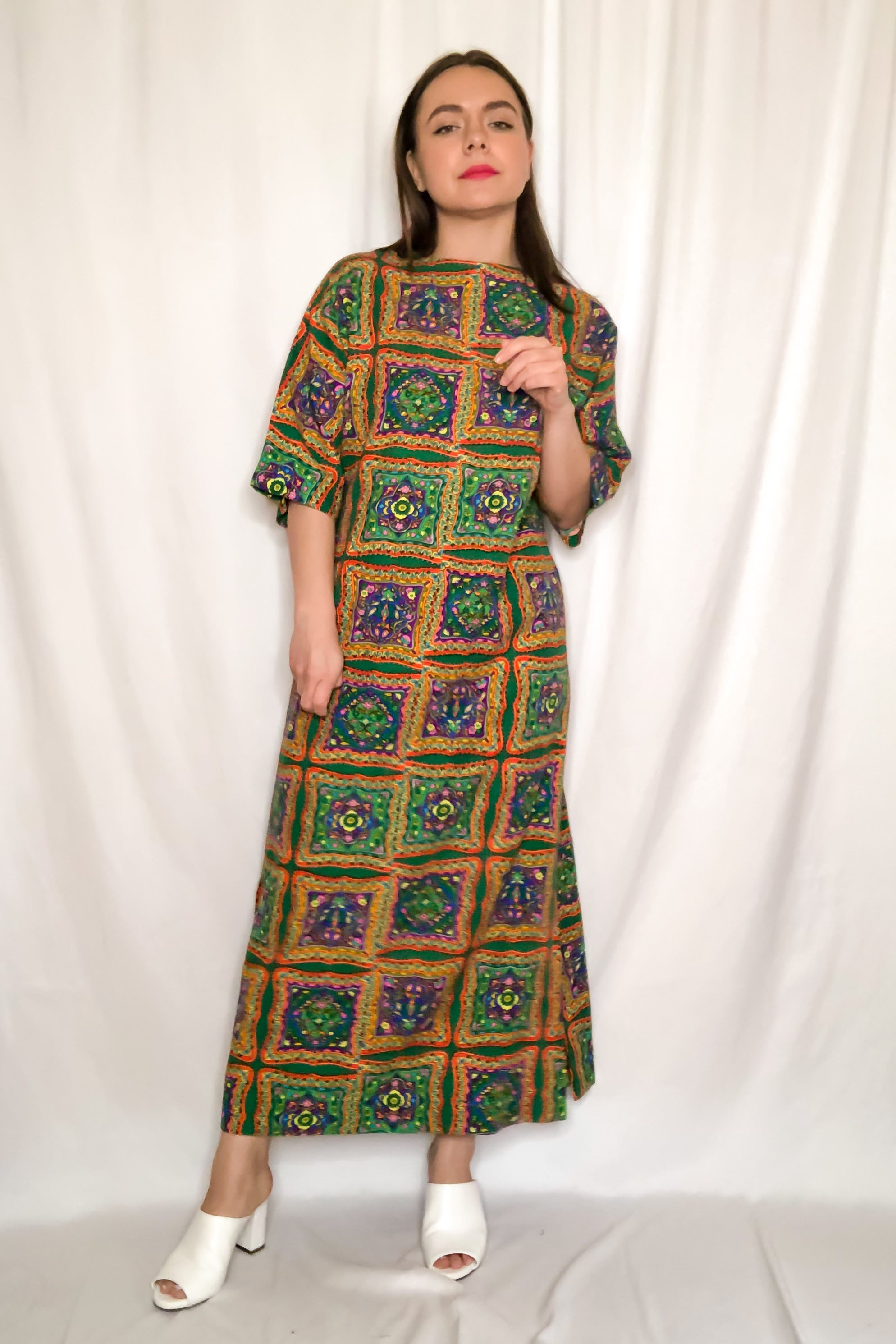 Vintage 60s-70s Patchwork Print Maxi Dress / S-L