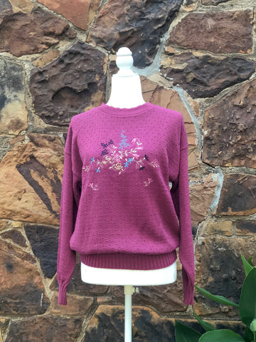 80s Pink Embroidered Sweater / S-M