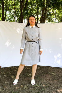 Vintage 70s Blue Striped Shirt Dress / S