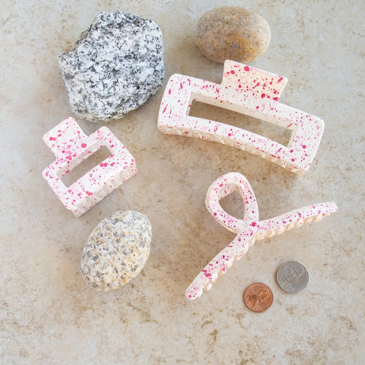 Pink Confetti Hair Clips