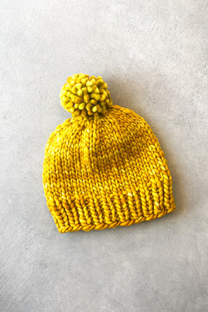 Open image in slideshow, The Bertha Pom Pom Beanie in Yellow by April Fresh Knits