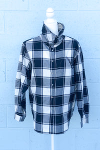 Vintage 80's Black and White Buffalo Check Shirt / M-L