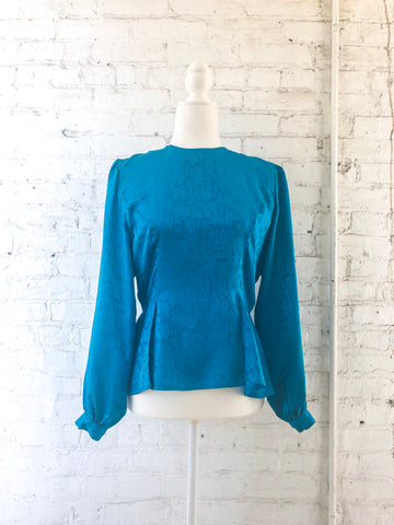 80s Blue Silk Animal Jacquard Blouse / S
