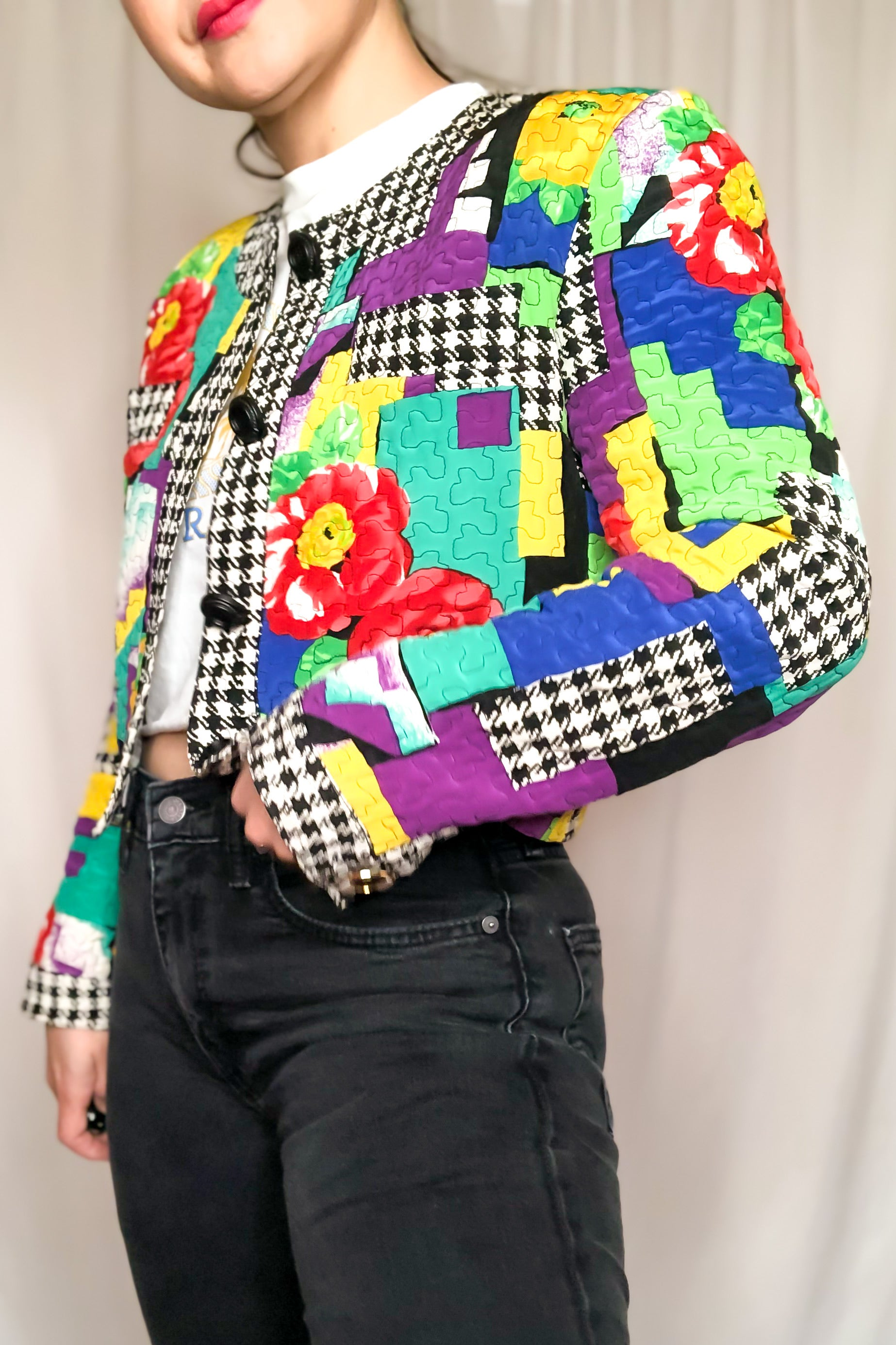 Vintage 80s Silk Quilted Jacket / S