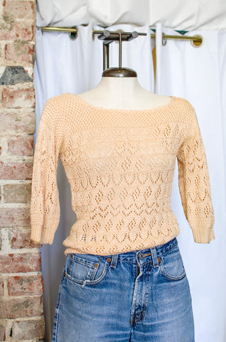 1990s Blush Crochet Sweater / Small