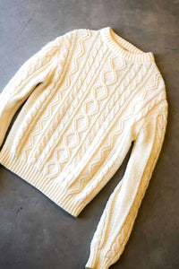 Vintage 70s Ivory Cable Knit Sweater