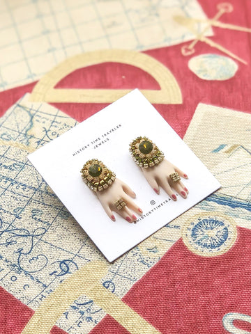 "Vintage ""Hands On"" Green Gem Earrings"
