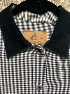 Vintage 80s-90s Black Gingham Jacket by LizWear / S-L