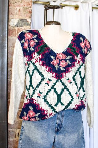 1980s White & Navy Floral Sweater / Small - Large