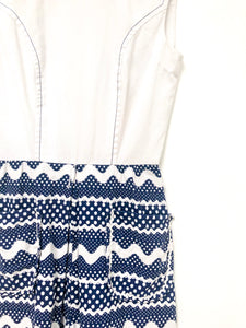 Vintage 70s Blue and White Romper / XS-S