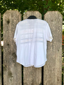 80s-90s White Safari Shirt by Tapestry / S-L