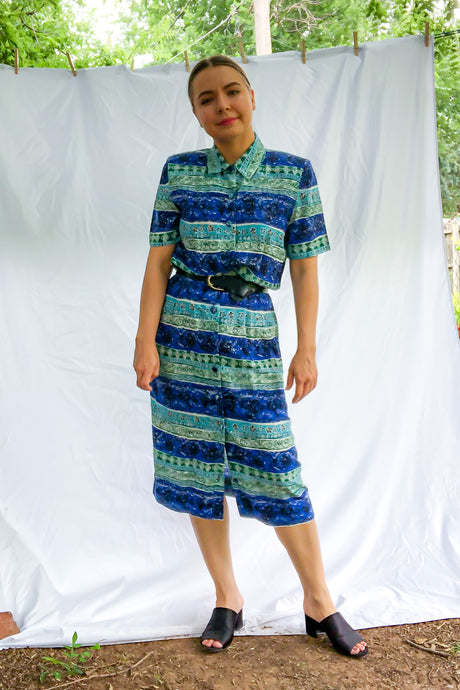 Vintage 90s Blue and Green Print Shirt Dress / S-M