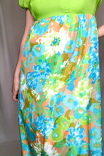 Load image into Gallery viewer, Vintage 60s-70s Blue Floral Maxi Dress / XS-S