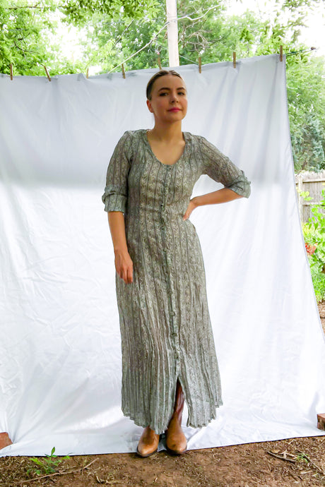 Vintage 80s-90s Grey Tapestry Print Maxi Dress / S-M
