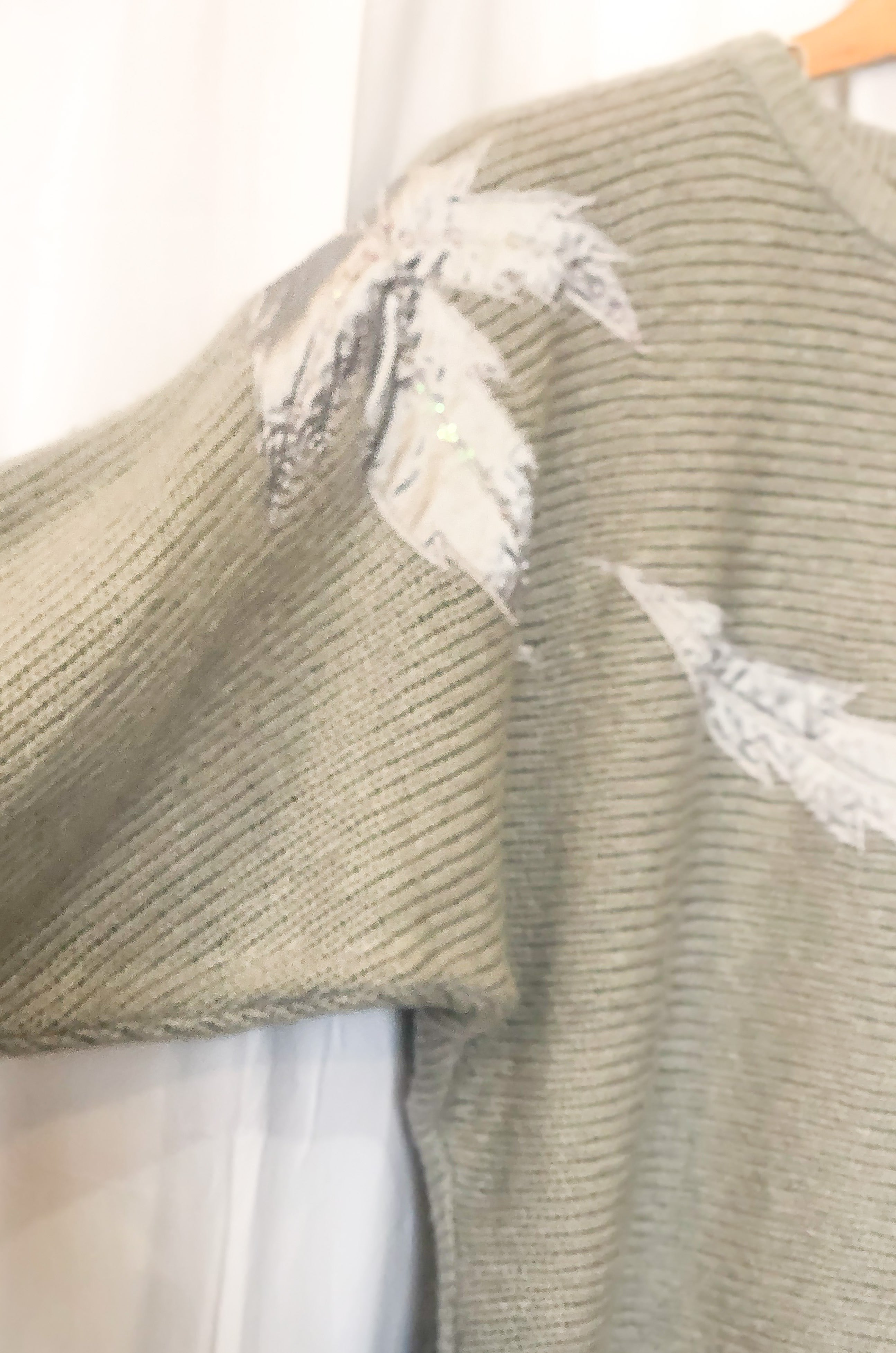 Vintage Heather Grey Embellished Sweater / Medium - Large
