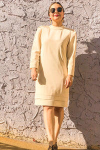60s-70s Cream Shirt Dress / M