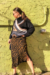90s Black and Brown Zebra Silk Skirt / M