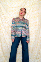 Load image into Gallery viewer, Vintage 90s Tapestry Print Silk Shirt / S-M