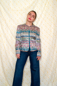 Vintage 90s Tapestry Print Silk Shirt / S-M