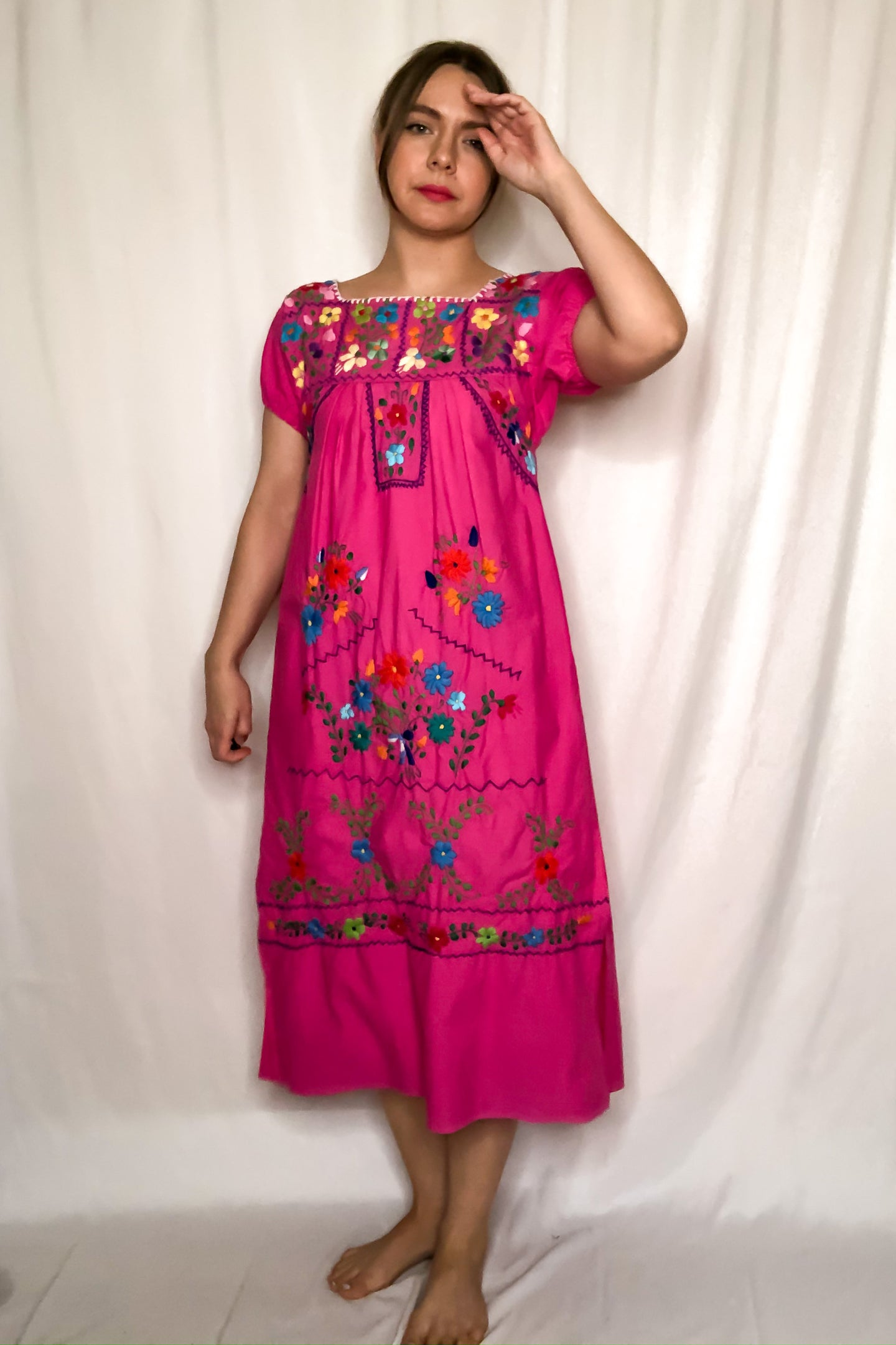 Vintage 70s Pink Floral Embroidered Oaxacan Dress / S-M