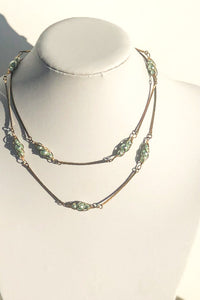 Vintage Green Pearl & Brass Necklace