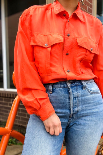 90s Orange Silk Button Down Shirt / S-M