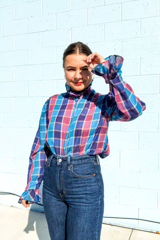 Vintage 80's Blue & Purple Ruffle Shirt / S