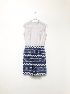 70s Blue and White Romper / XS-S