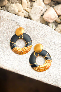 Vintage Black & Gold Circle Earrings