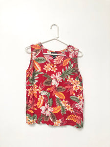 90s Red Tropical Floral Tank / S-L
