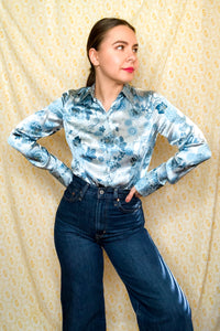 Vintage 90s Blue Floral Print Mix Silk Shirt / S