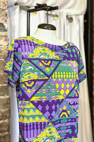 1960s-1970s Purple Green & Yellow Dress / Medium - Large