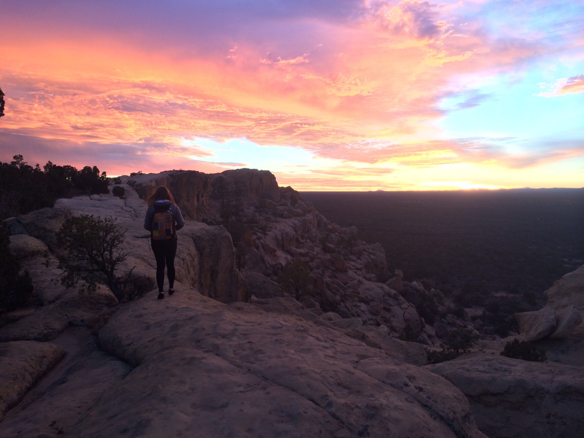 Sunset at the limestone cliffs at El Malpais National Monument