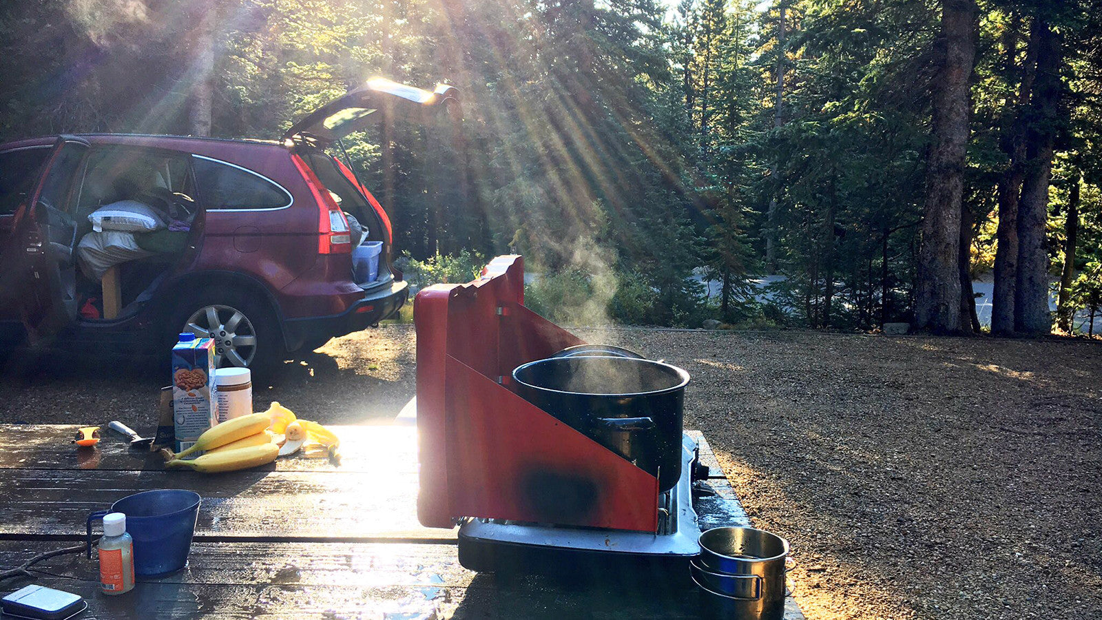 Cooking at camp.