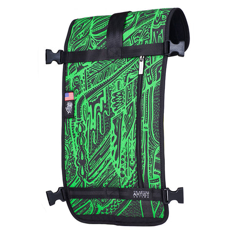 Ethnotek's Artist Series 3 Raja Pack 30L Thread™ attaches to the main pack by Velcro and quick release buckles and can be swapped out with other Threads™
