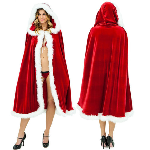 Women's Deluxe Velvet Mrs Santa Hooded Christmas Costume